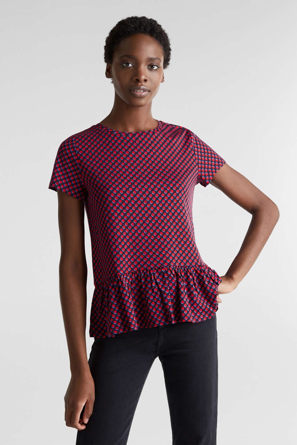 Esprit - Print T-Shirt with flounce hem