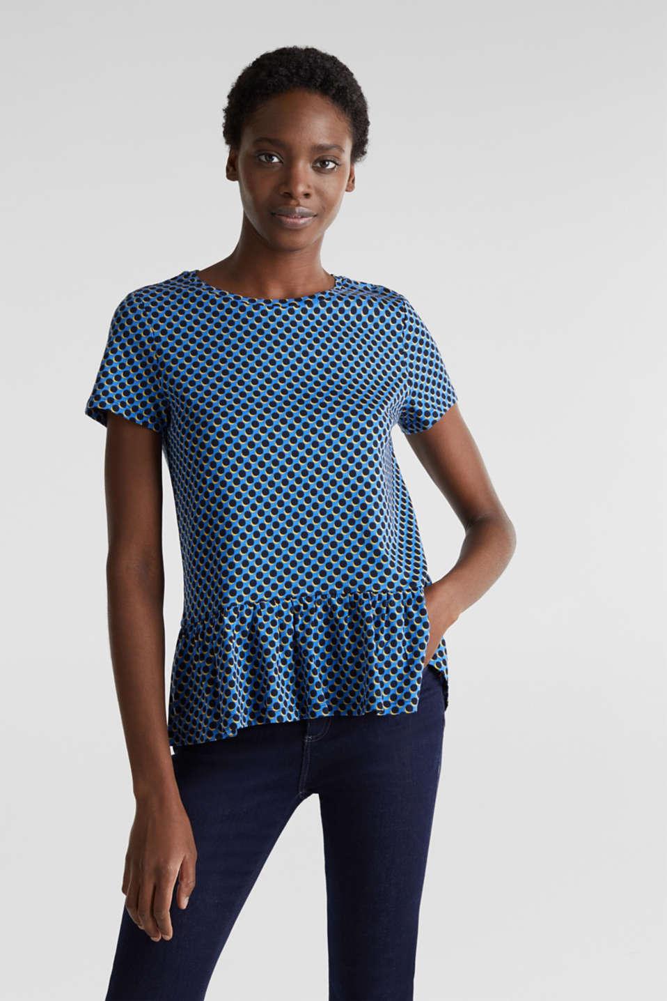 Print T-Shirt with flounce hem, LIGHT BLUE 4, detail image number 0