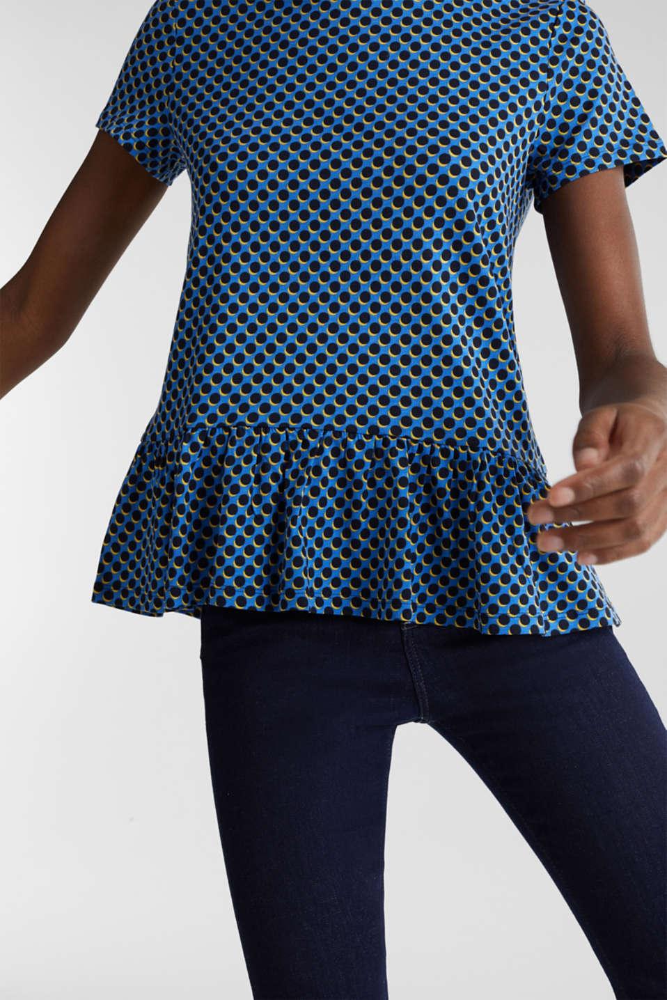 Print T-Shirt with flounce hem, LIGHT BLUE 4, detail image number 2