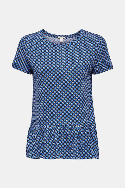 Print T-Shirt with flounce hem