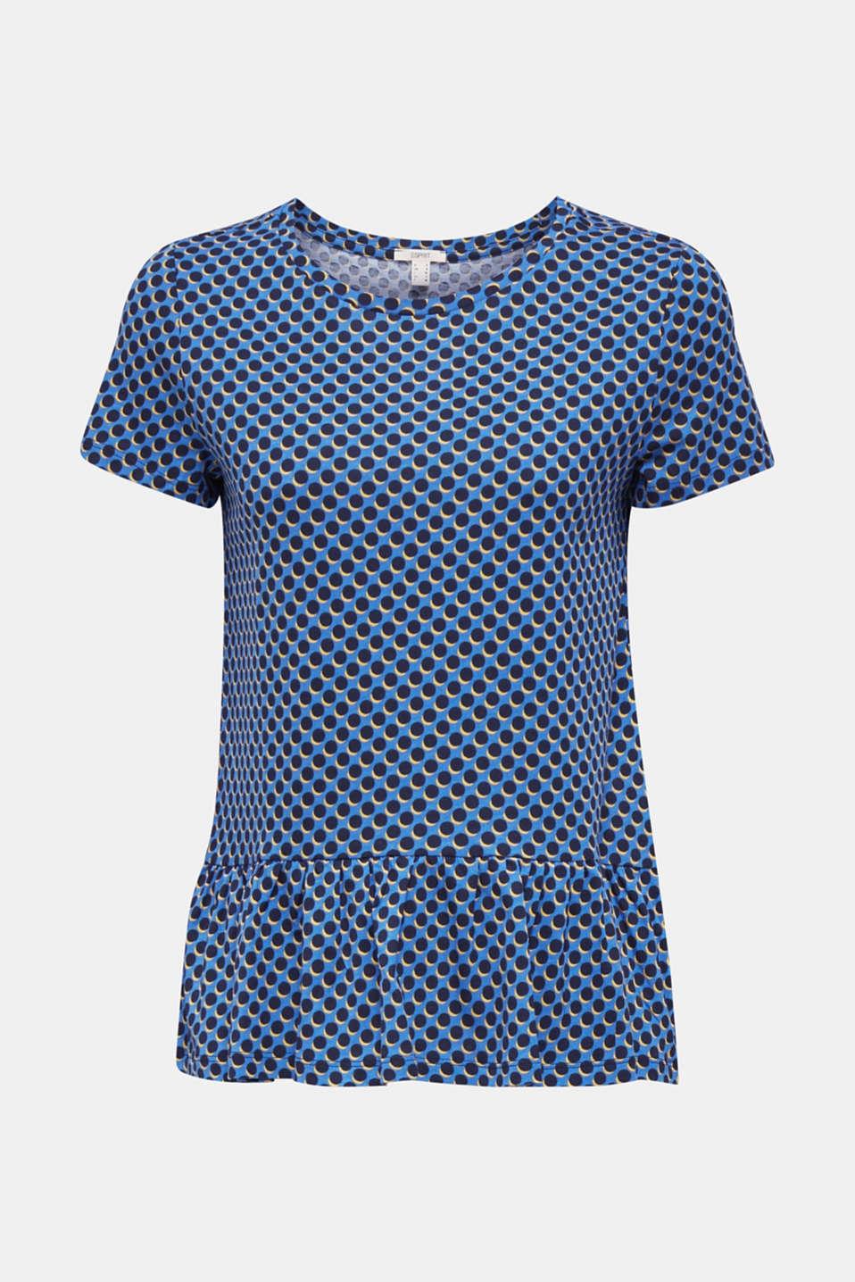 Print T-Shirt with flounce hem, LIGHT BLUE 4, detail image number 5