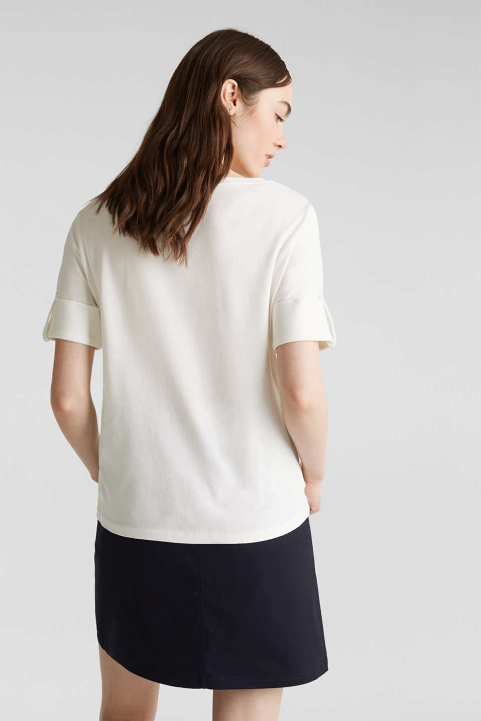 T-shirt with turn-up sleeves, OFF WHITE, detail image number 3