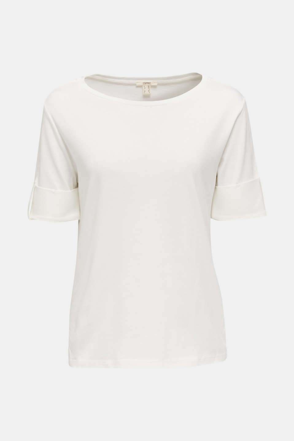 T-shirt with turn-up sleeves, OFF WHITE, detail image number 5