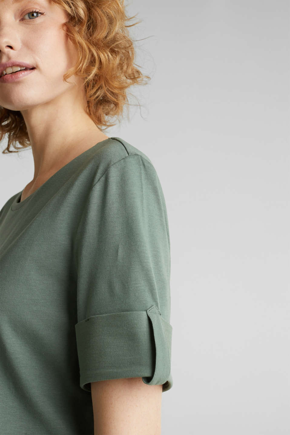 T-shirt with turn-up sleeves, KHAKI GREEN, detail image number 2