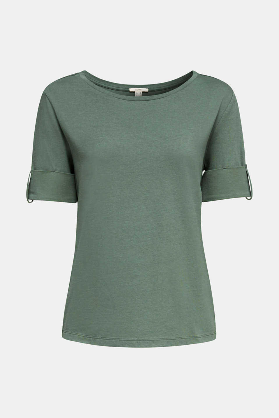 T-shirt with turn-up sleeves, KHAKI GREEN, detail image number 6