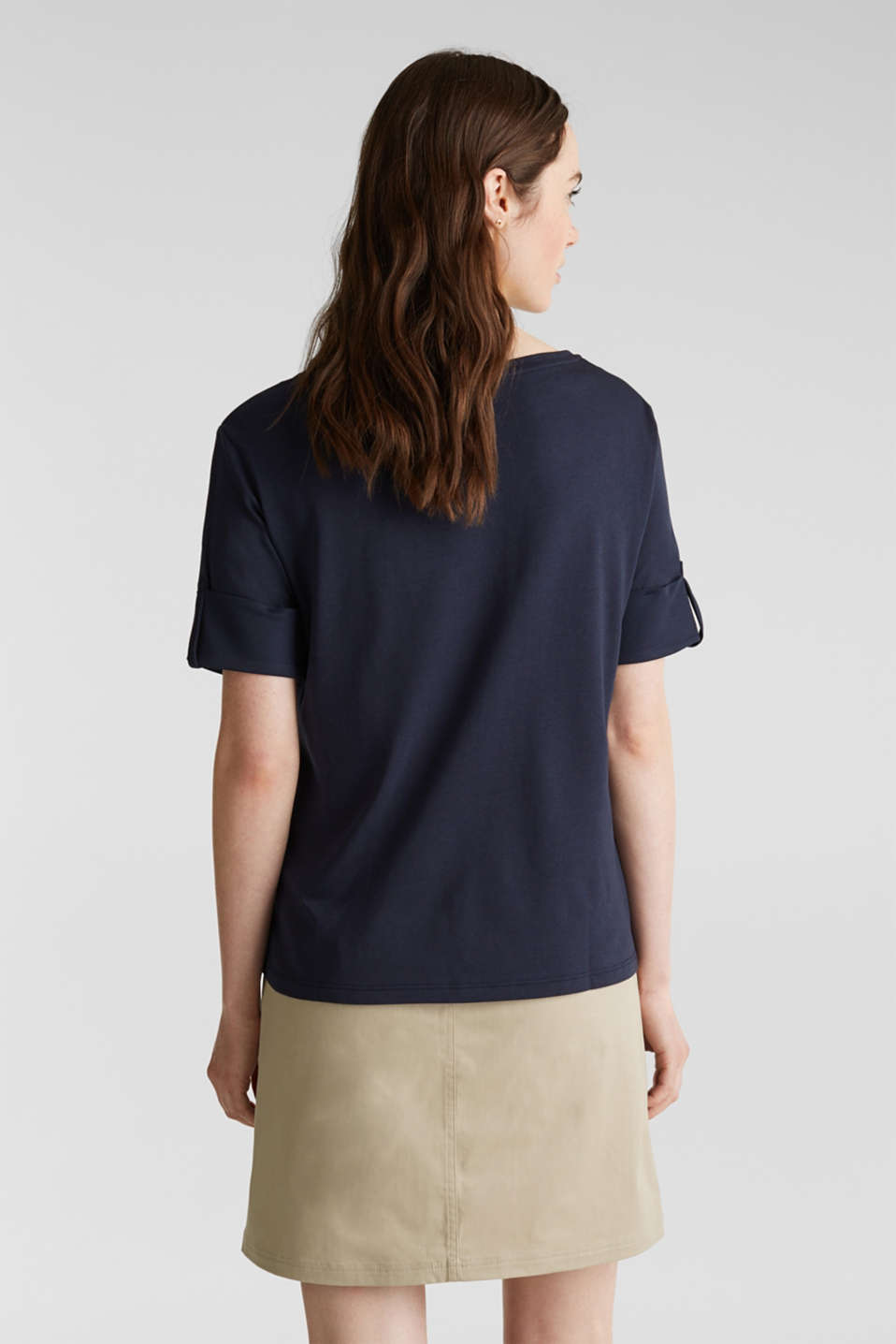 T-shirt with turn-up sleeves, NAVY, detail image number 3