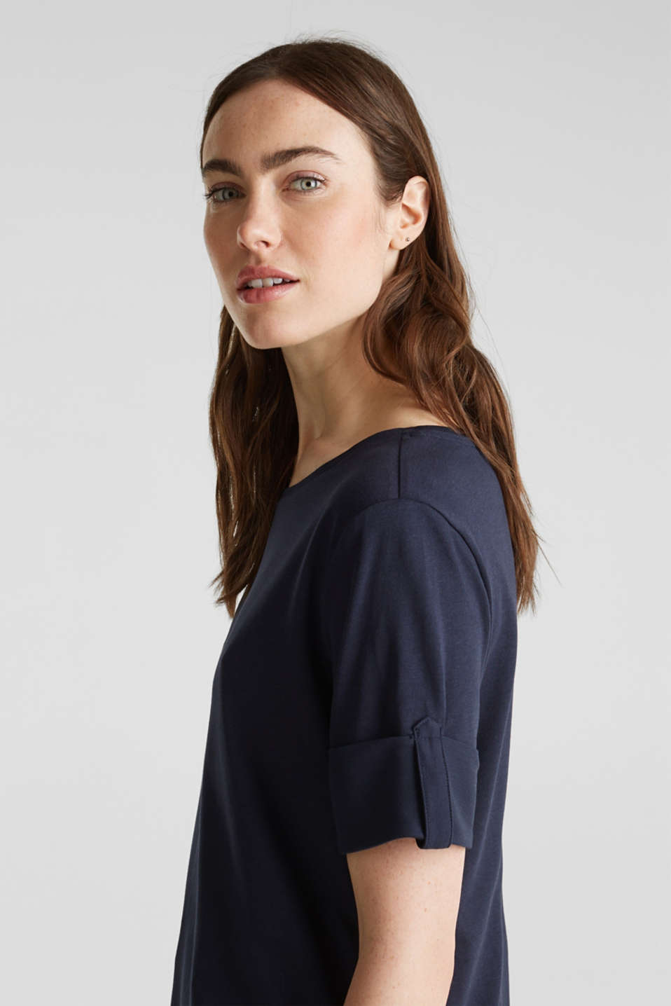 T-shirt with turn-up sleeves, NAVY, detail image number 2
