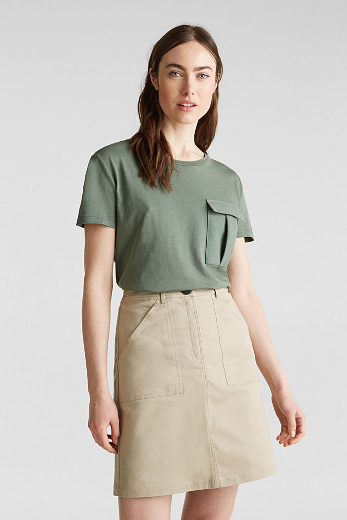 Utility top with a breast pocket, KHAKI GREEN, detail image number 0