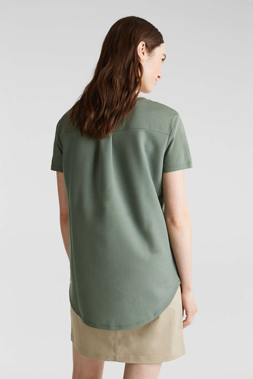 Utility top with a breast pocket, KHAKI GREEN, detail image number 3