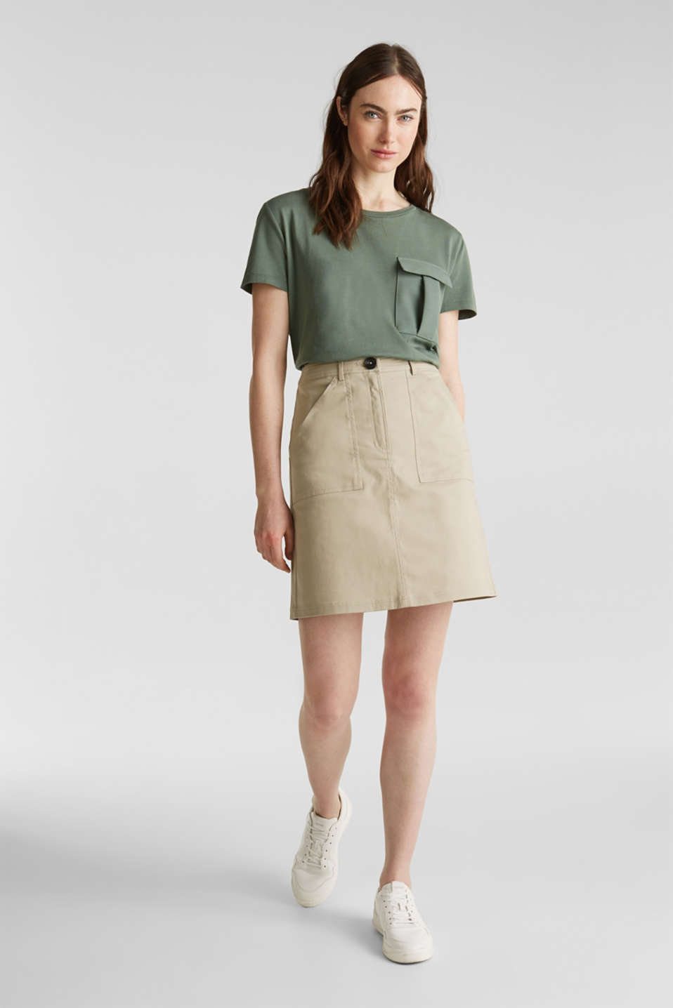 Utility top with a breast pocket, KHAKI GREEN, detail image number 1