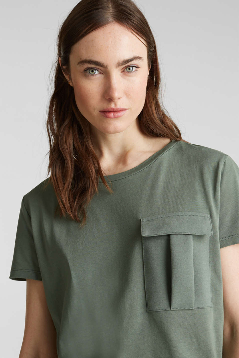 Utility top with a breast pocket, KHAKI GREEN, detail image number 2