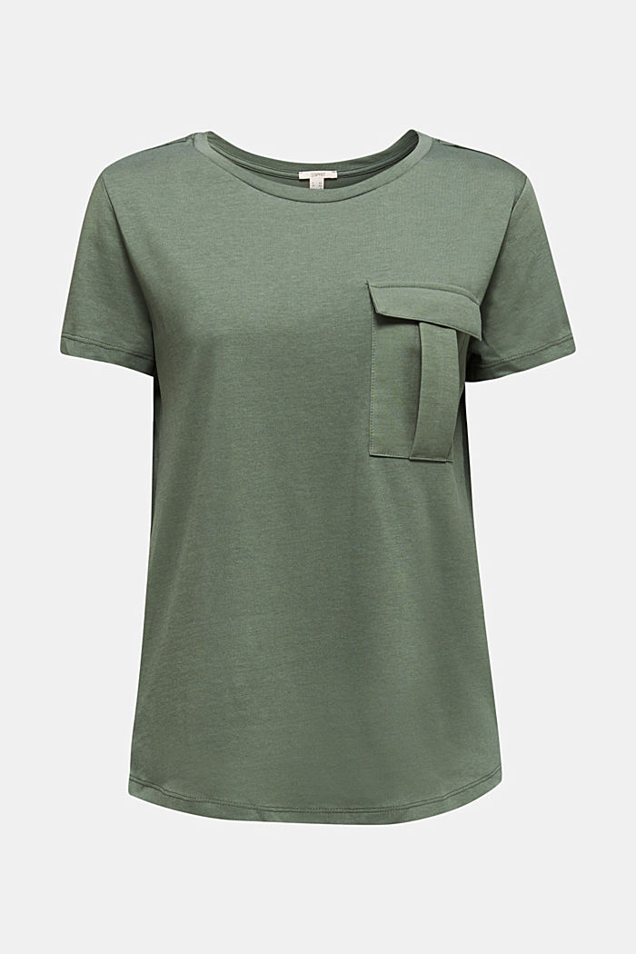 Utility top with a breast pocket, KHAKI GREEN, detail image number 6