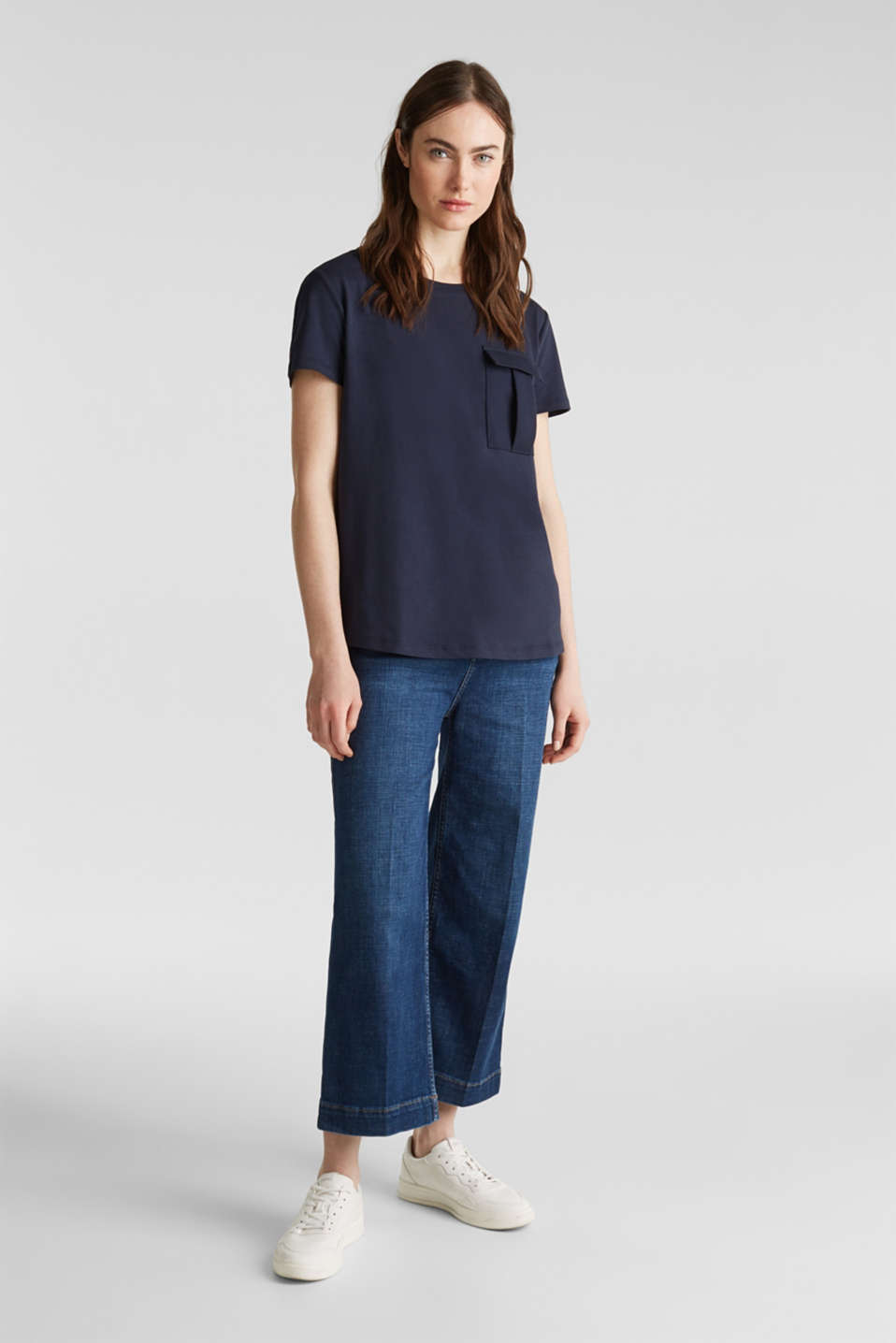 Utility top with a breast pocket, NAVY, detail