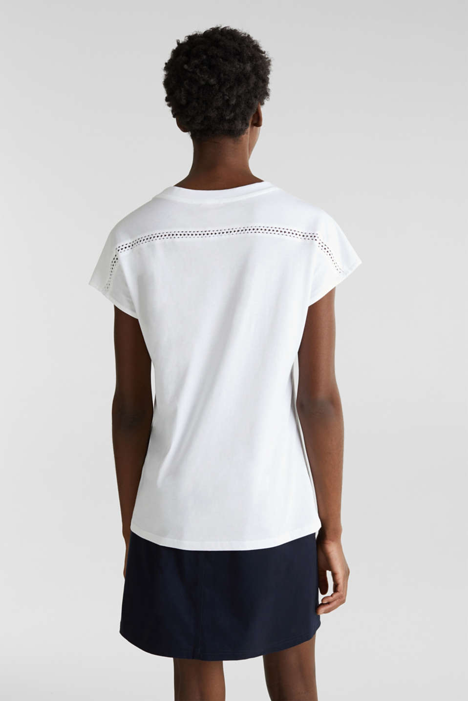 Open-work pattern top, 100% cotton, WHITE, detail image number 3