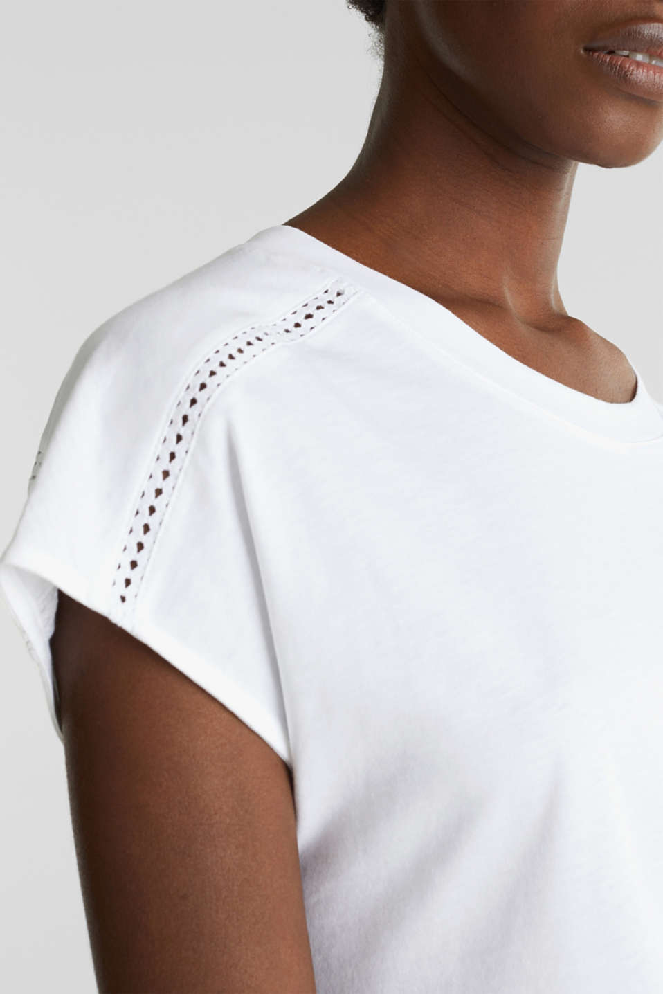 Open-work pattern top, 100% cotton, WHITE, detail image number 2