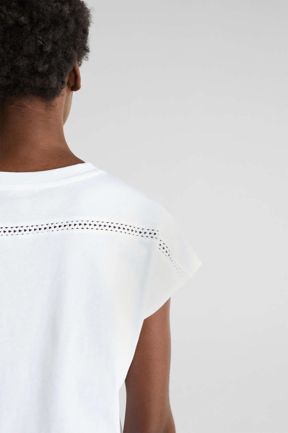 Open-work pattern top, 100% cotton, WHITE, detail image number 5