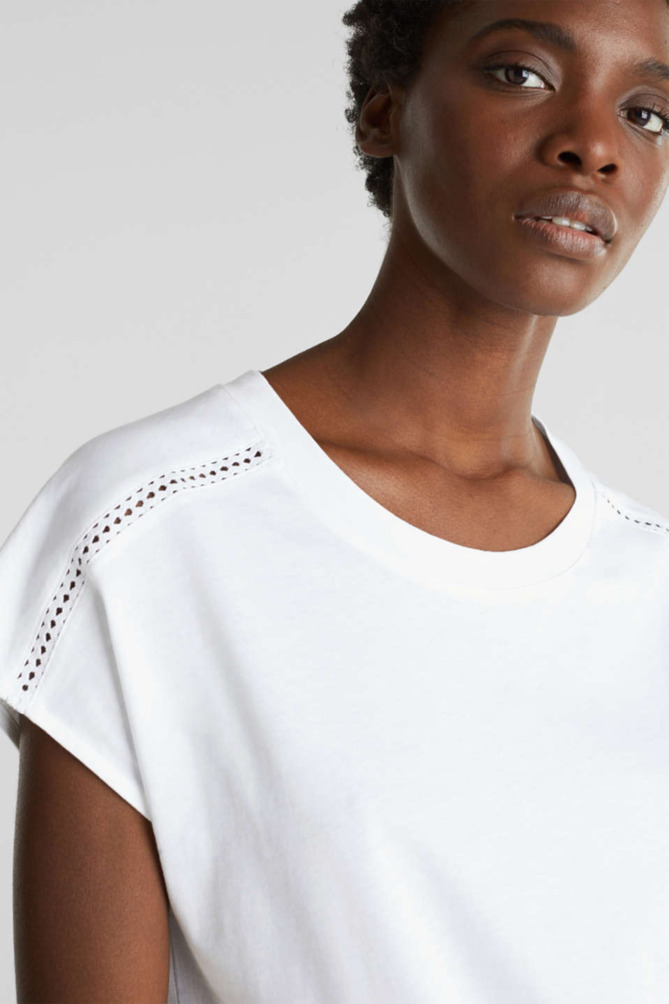 Open-work pattern top, 100% cotton, WHITE, detail image number 6