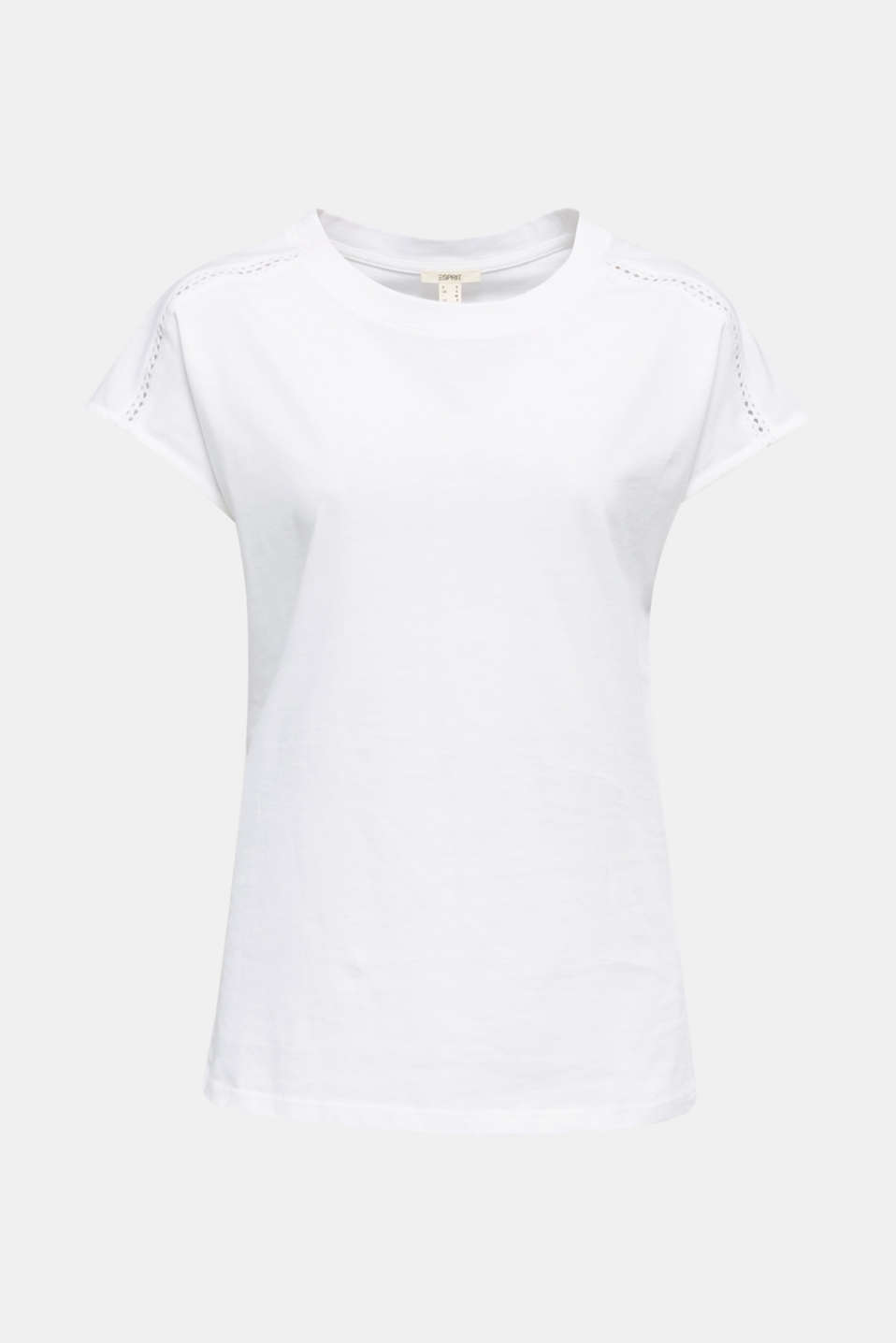Open-work pattern top, 100% cotton, WHITE, detail image number 7