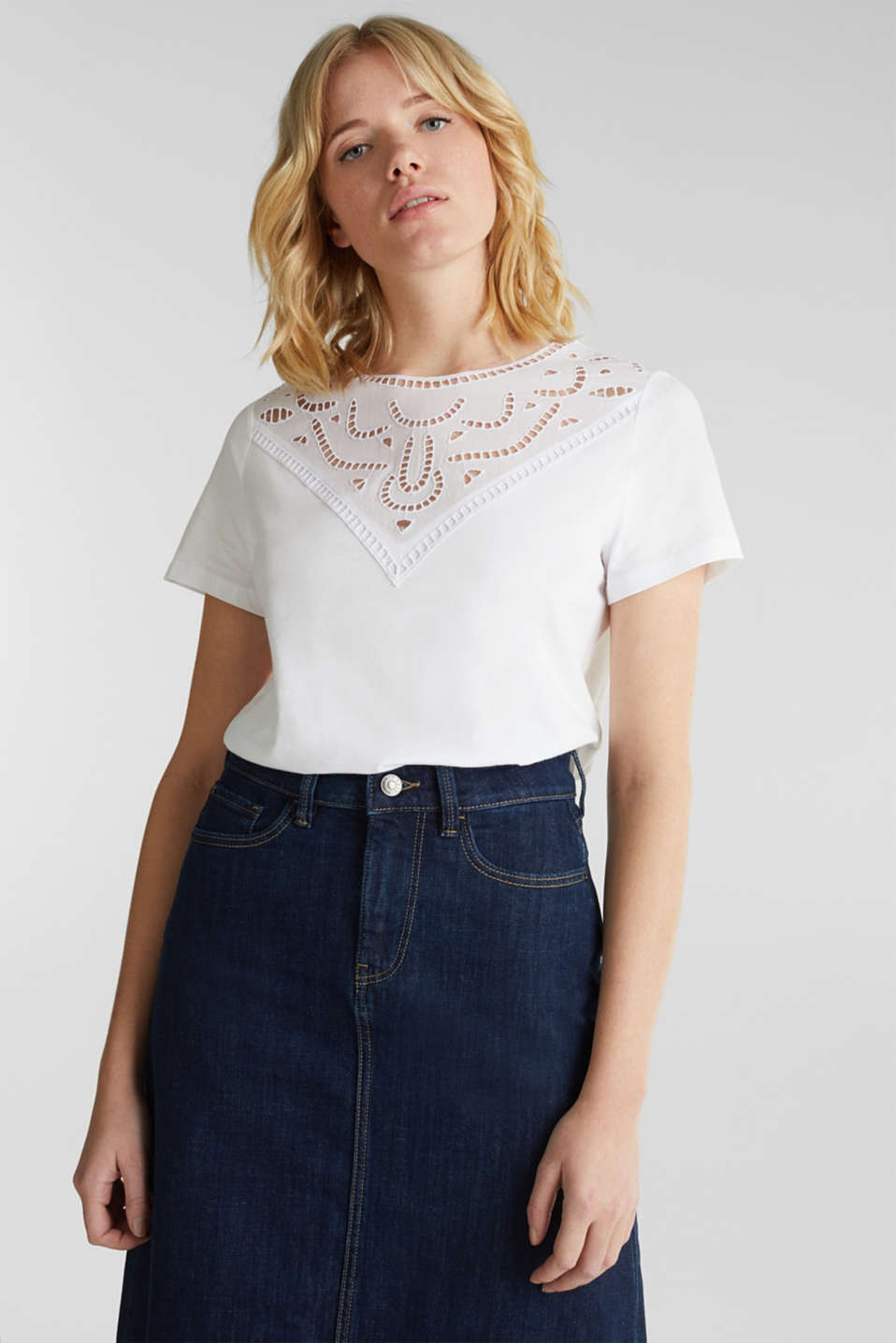 Cotton top with lace trims, WHITE, detail image number 0