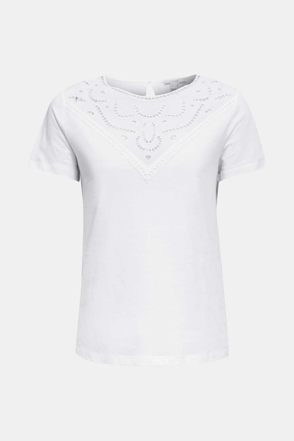 Cotton top with lace trims, WHITE, detail image number 6