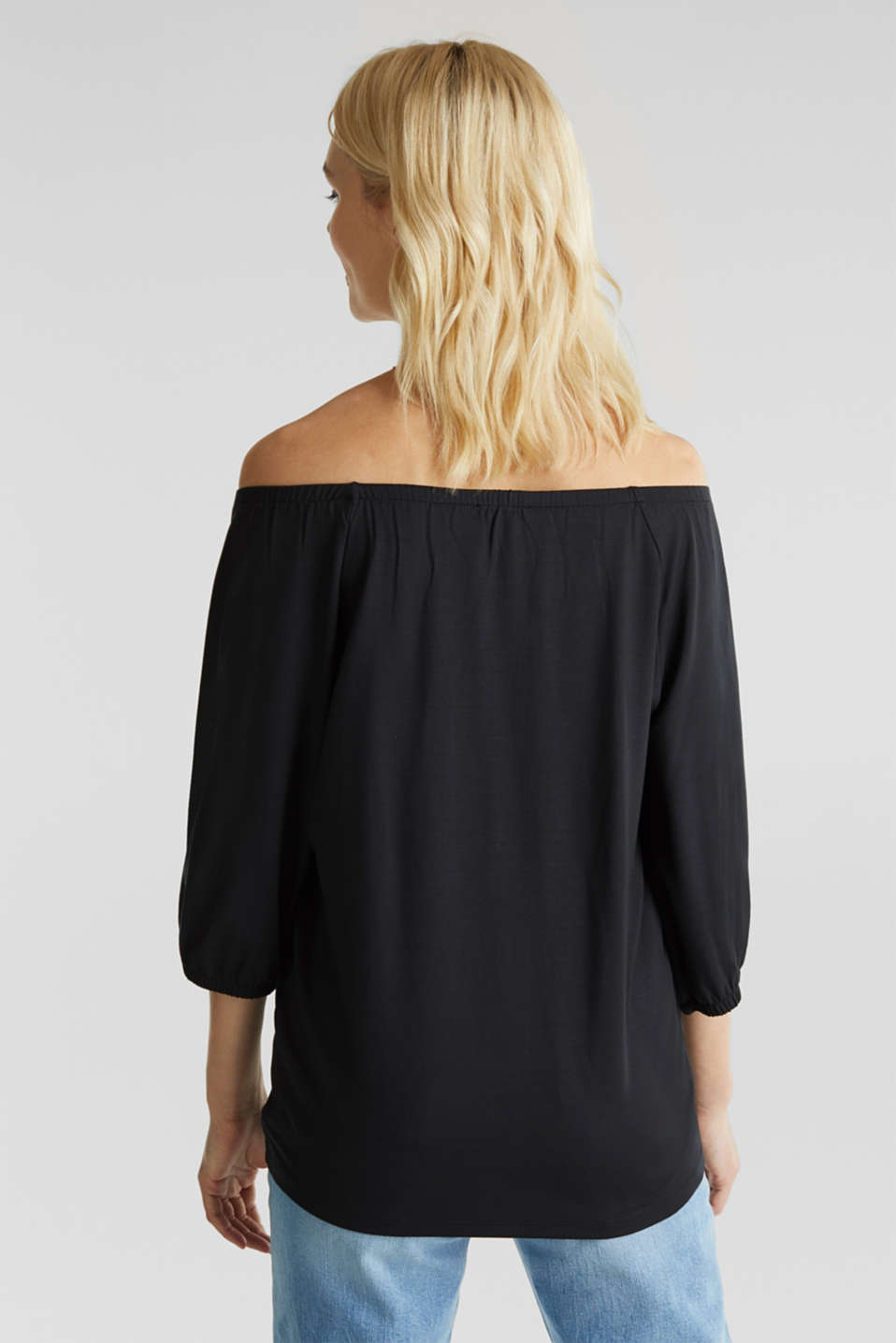 Carmen top with elasticated hems, BLACK, detail image number 2