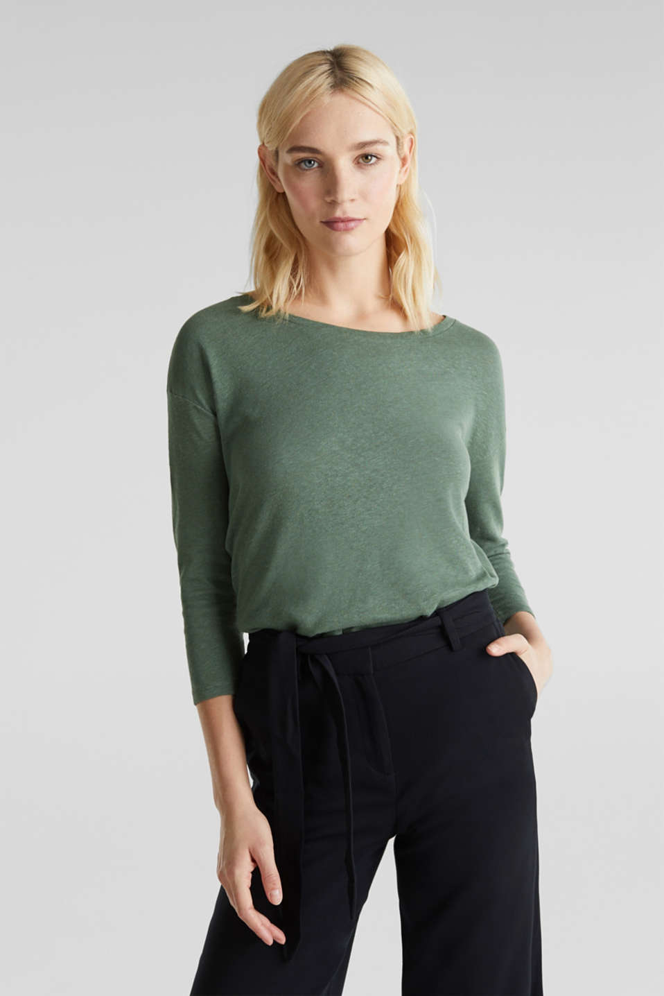 With linen: top with three-quarter length sleeves, KHAKI GREEN, detail image number 0