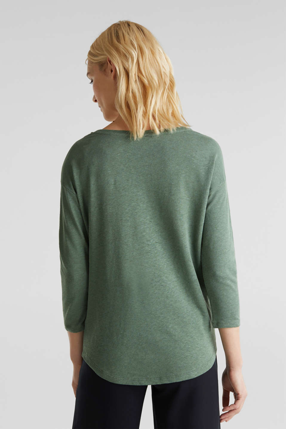 With linen: top with three-quarter length sleeves, KHAKI GREEN, detail image number 3