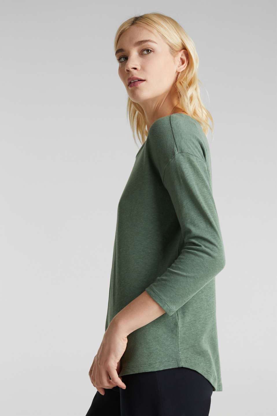 With linen: top with three-quarter length sleeves, KHAKI GREEN, detail image number 5