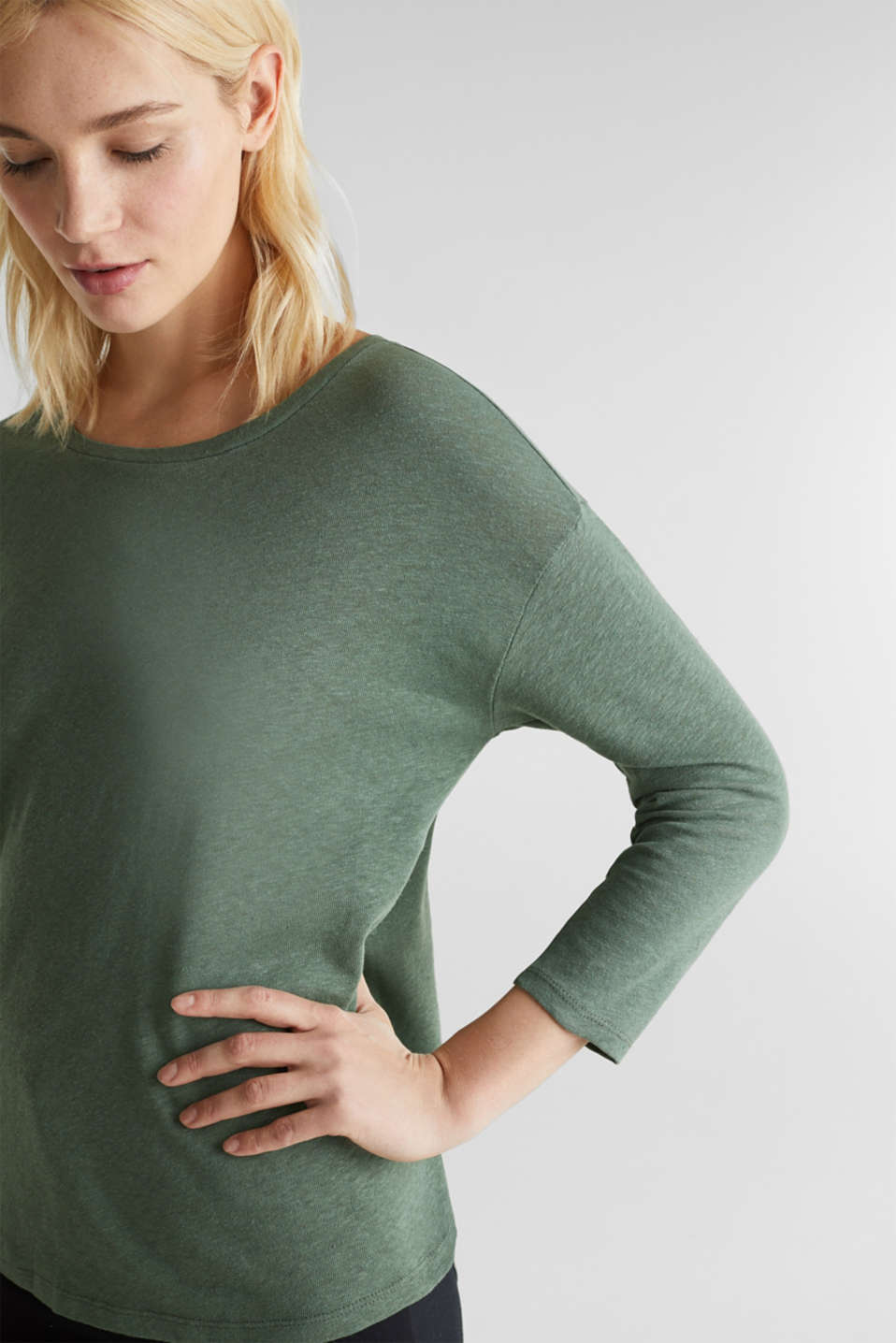 With linen: top with three-quarter length sleeves, KHAKI GREEN, detail image number 2