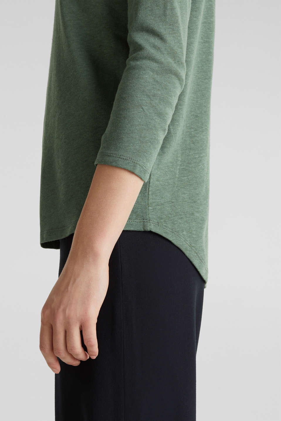 With linen: top with three-quarter length sleeves, KHAKI GREEN, detail image number 6