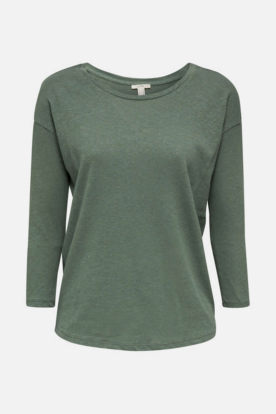 With linen: top with three-quarter length sleeves, KHAKI GREEN, detail image number 9