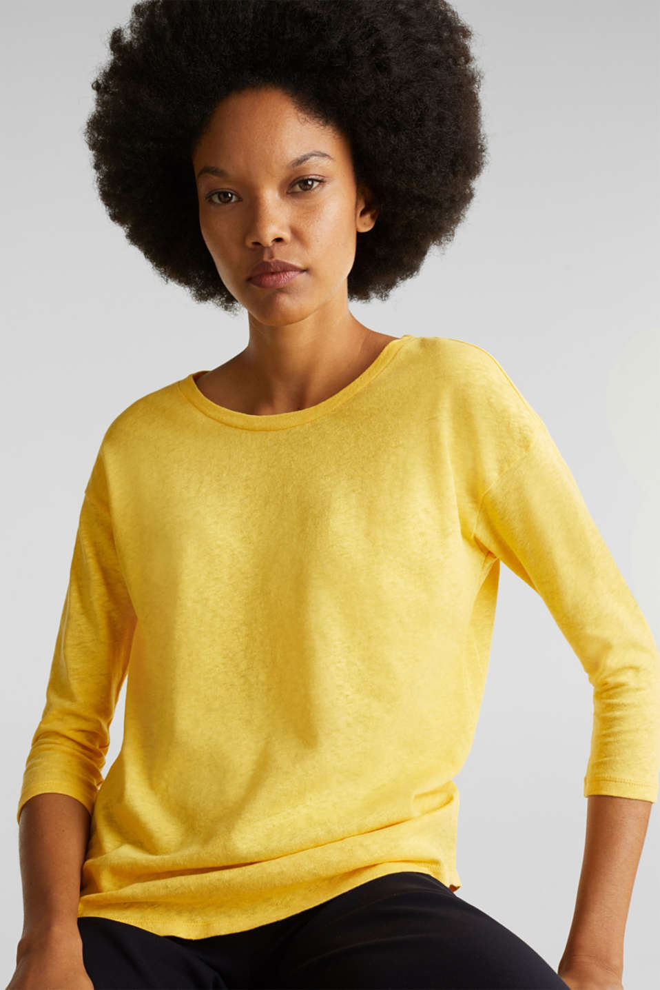 With linen: top with three-quarter length sleeves, YELLOW, detail image number 0