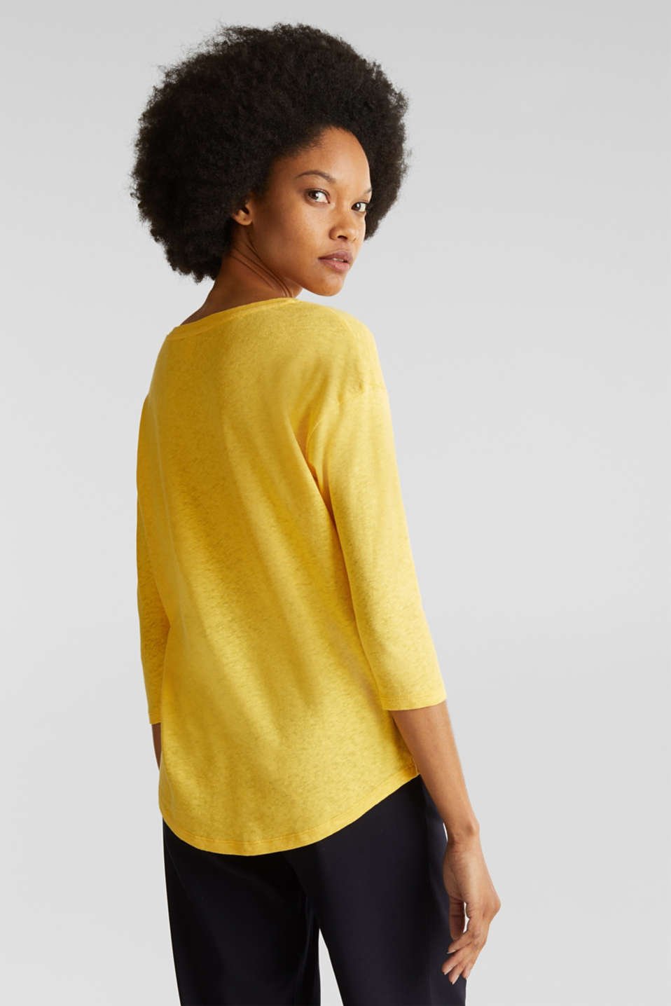 With linen: top with three-quarter length sleeves, YELLOW, detail image number 2