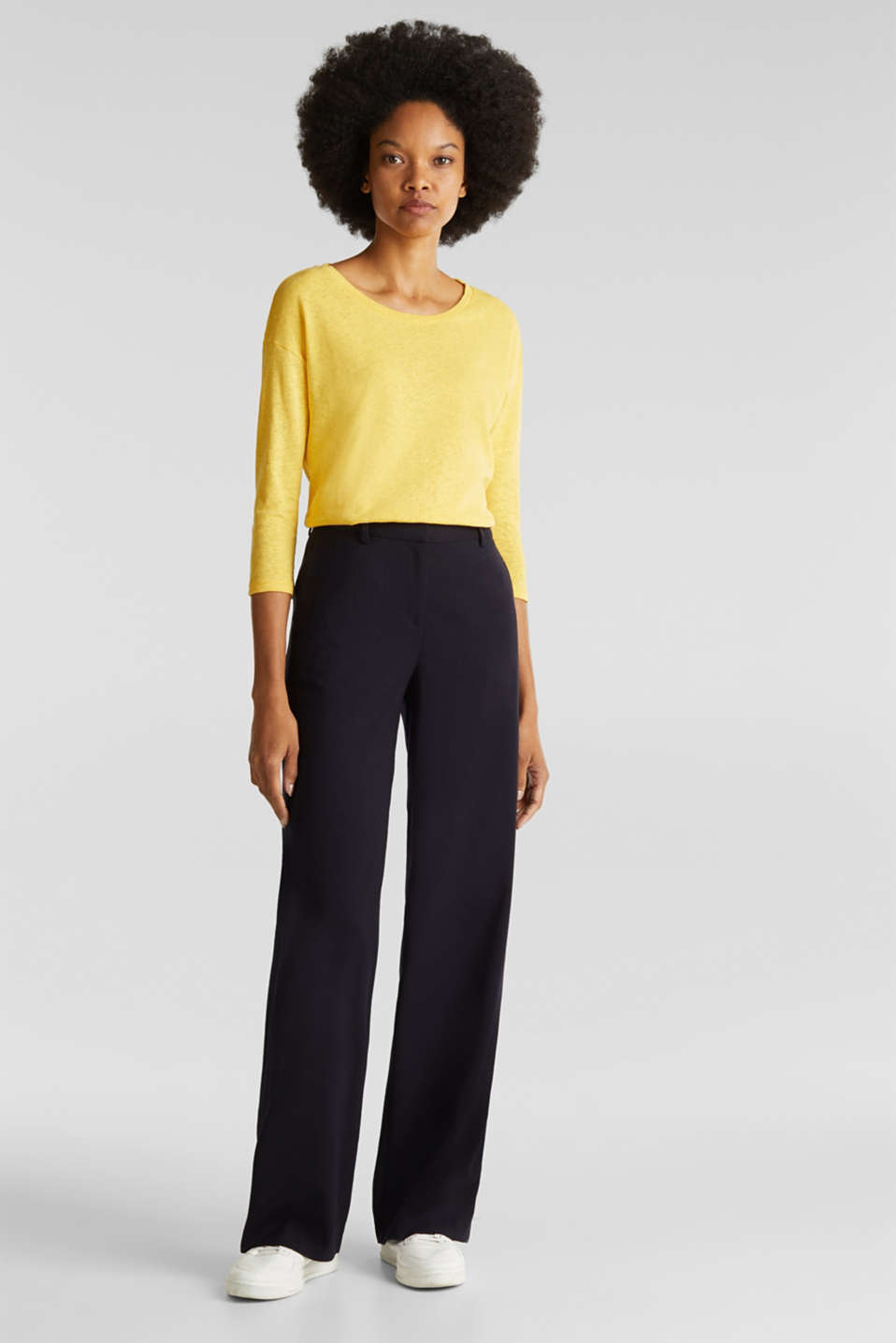 With linen: top with three-quarter length sleeves, YELLOW, detail image number 1