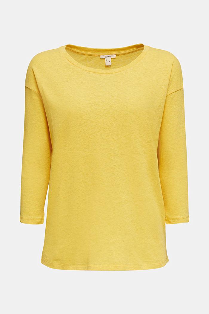 Mit Leinen: Shirt mit Dreiviertelärmel