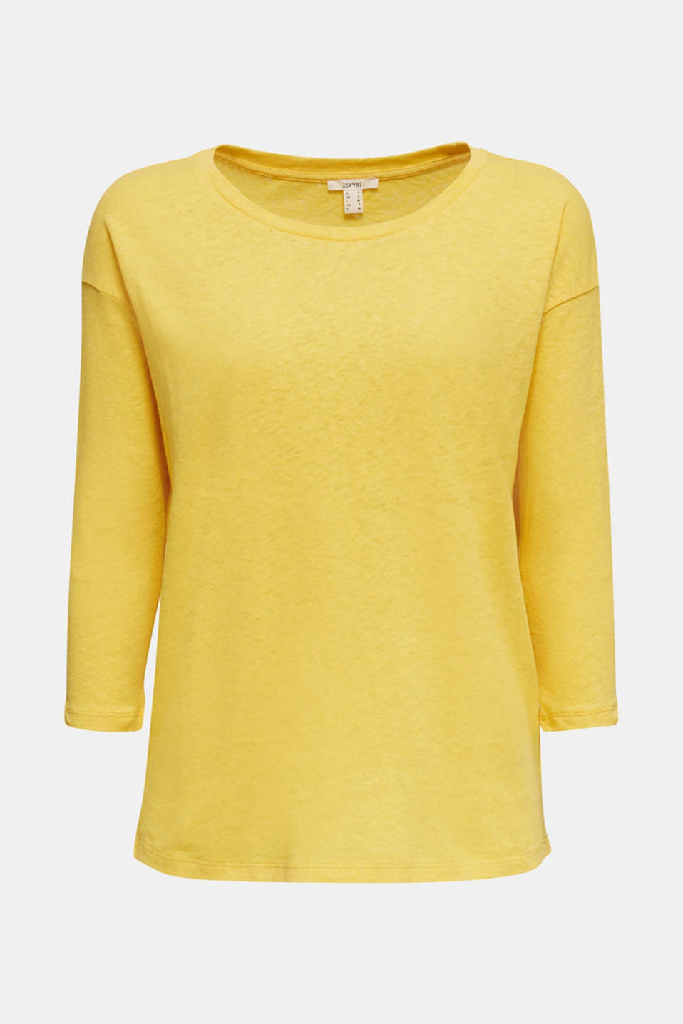 With linen: top with three-quarter length sleeves, YELLOW, detail image number 4