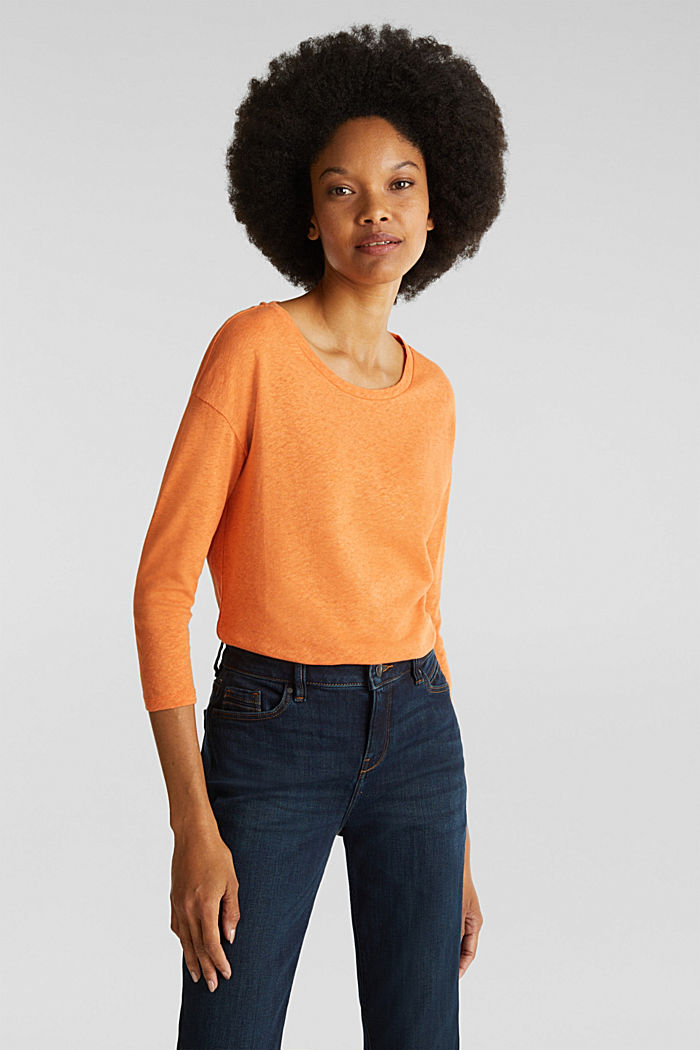 With linen: top with three-quarter length sleeves, RUST ORANGE, detail image number 0