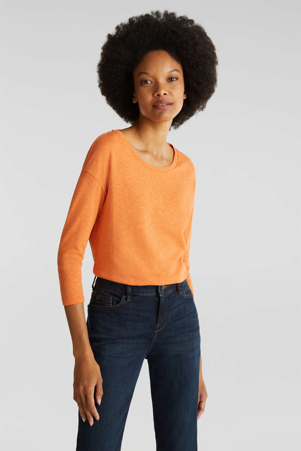Esprit - With linen: top with three-quarter length sleeves