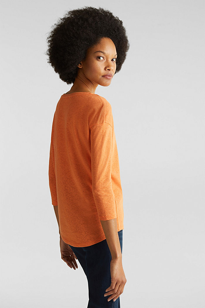 With linen: top with three-quarter length sleeves, RUST ORANGE, detail image number 2