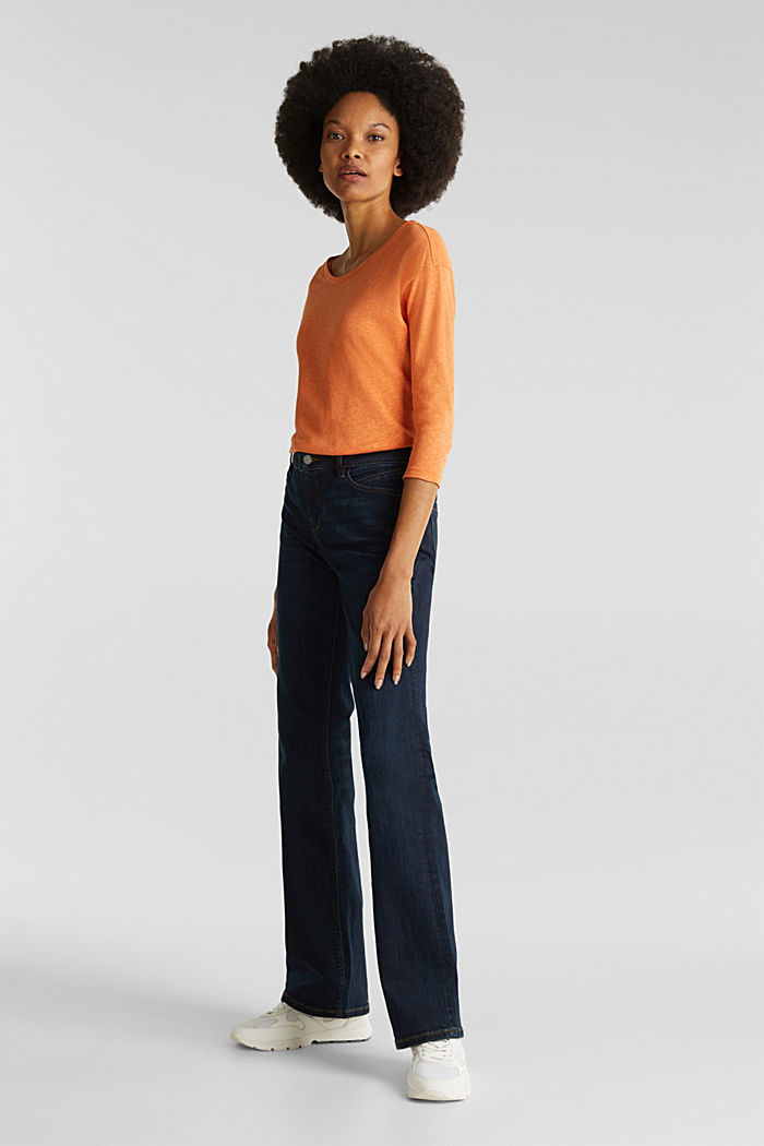 With linen: top with three-quarter length sleeves, RUST ORANGE, detail image number 1