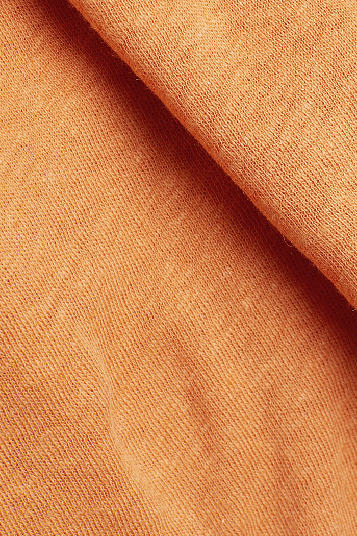 With linen: top with three-quarter length sleeves, RUST ORANGE, detail image number 3