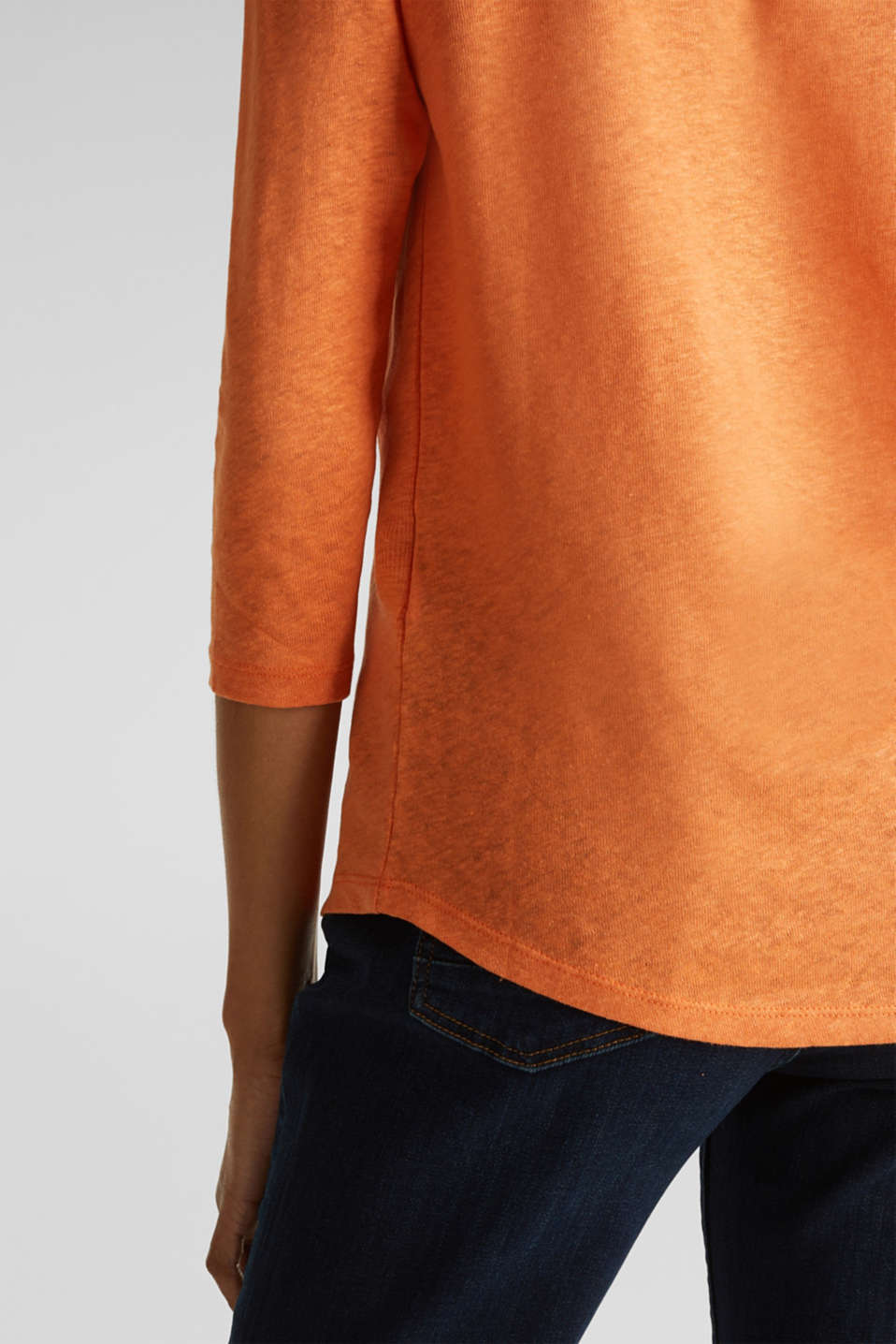 With linen: top with three-quarter length sleeves, RUST ORANGE, detail image number 4