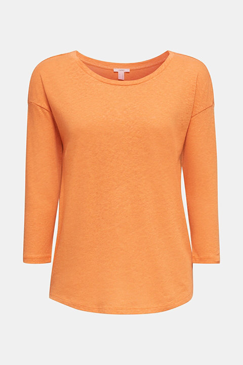 With linen: top with three-quarter length sleeves