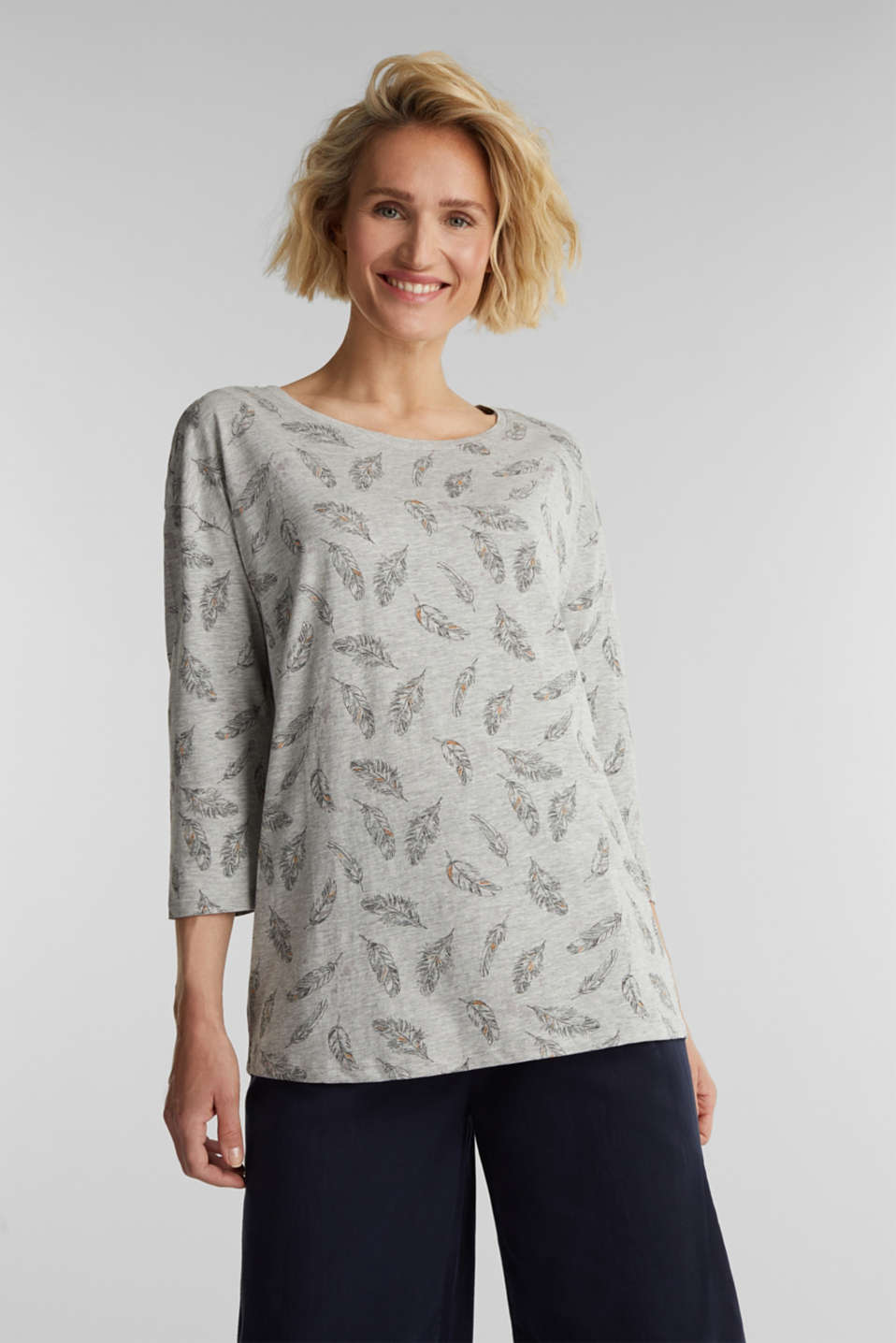 Esprit - Jersey print top with organic cotton