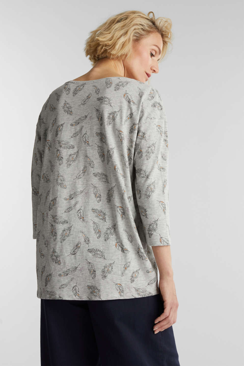 Jersey print top with organic cotton, LIGHT GREY 4, detail image number 3