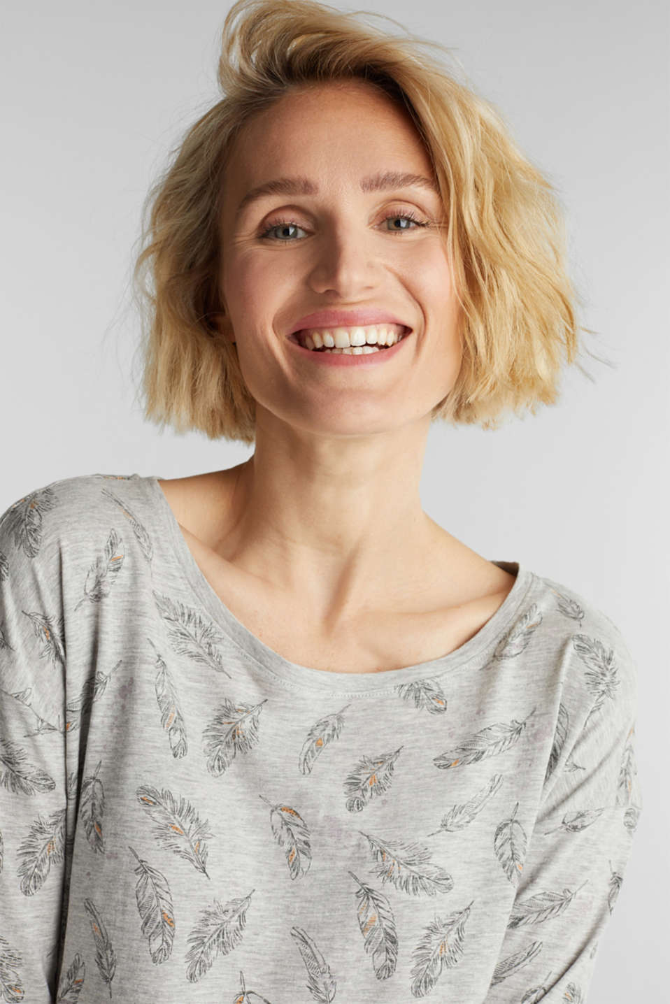 Jersey print top with organic cotton, LIGHT GREY 4, detail image number 5