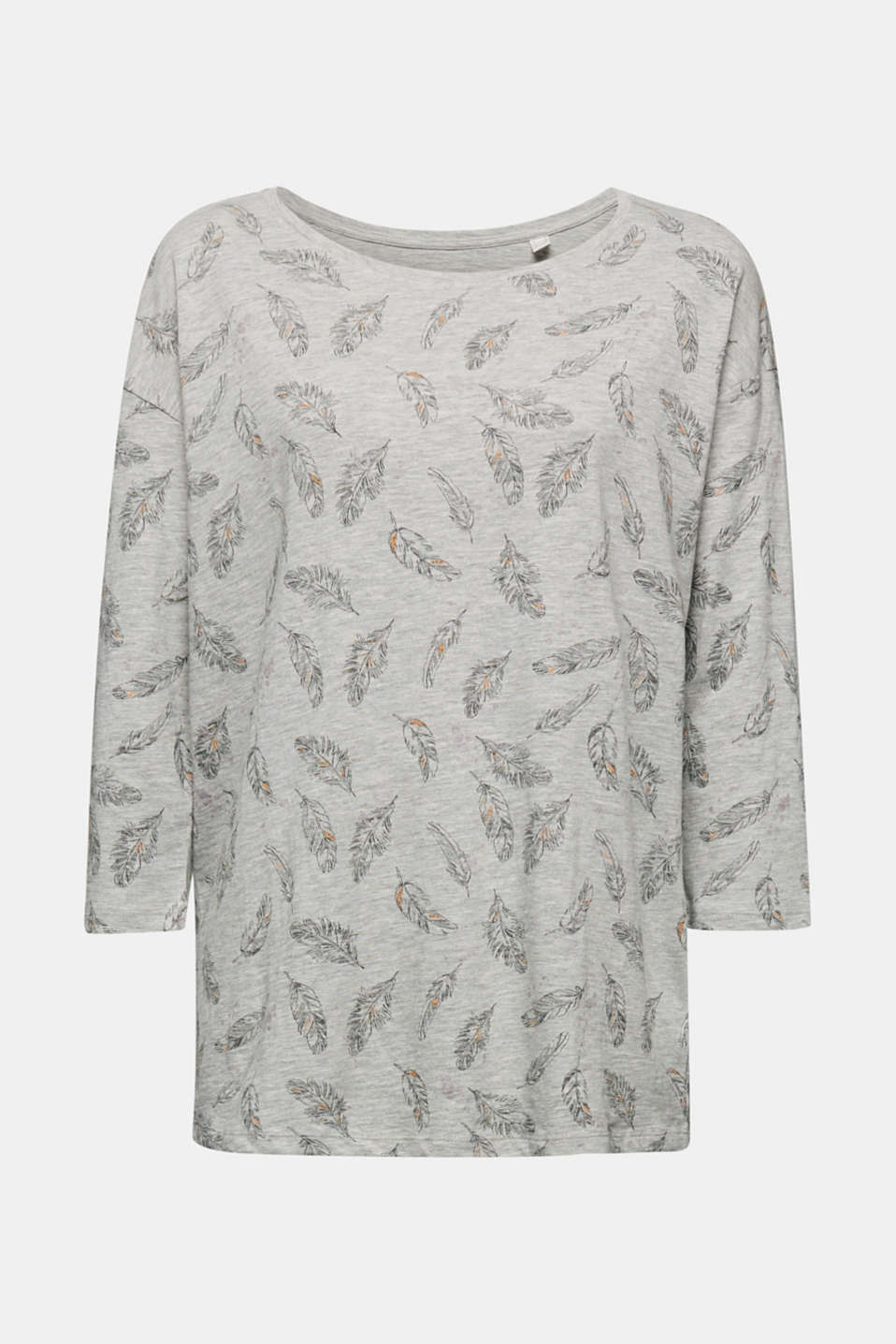 Jersey print top with organic cotton, LIGHT GREY 4, detail image number 6