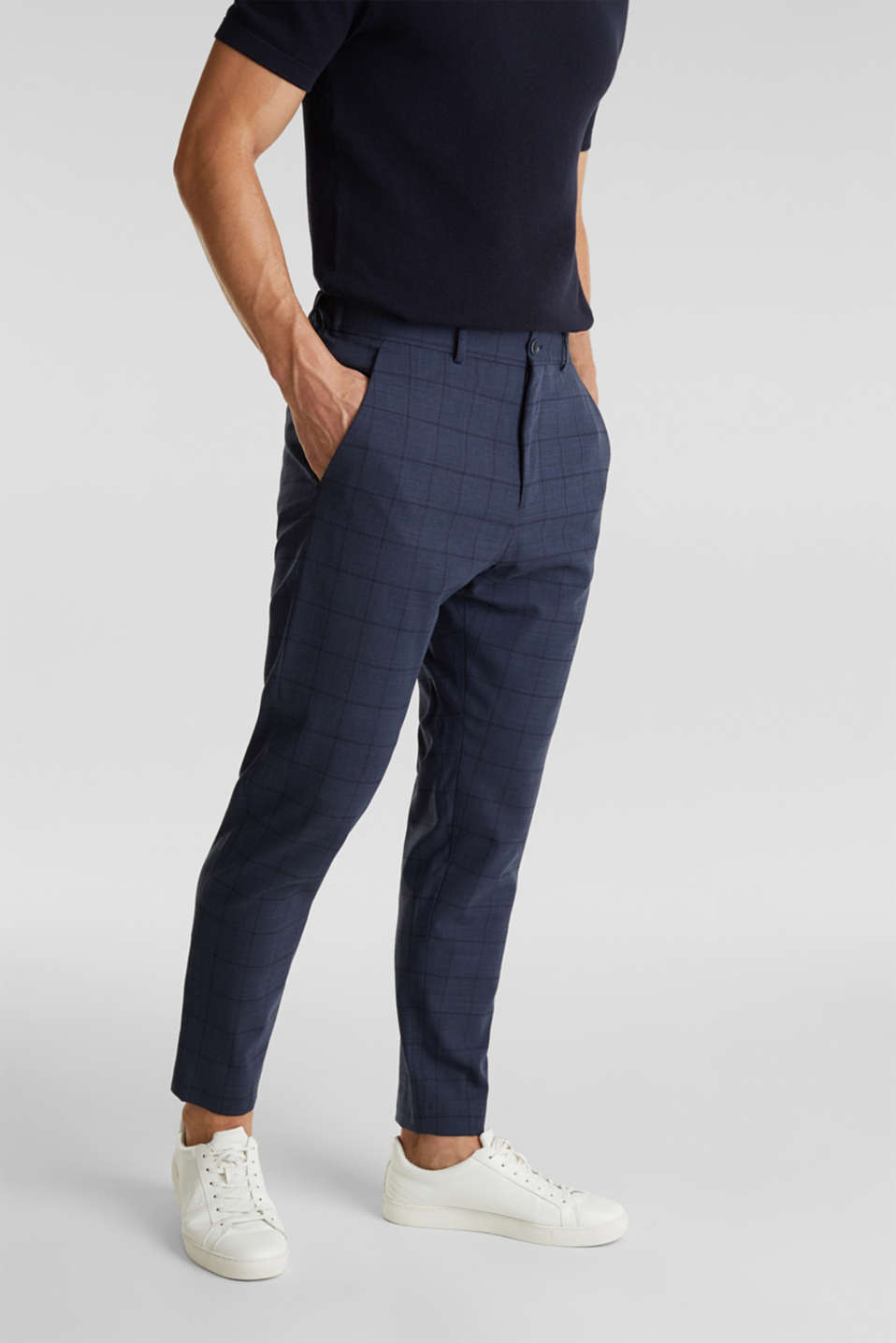 COOLMAX® CHECK mix + match: wool blend trousers, GREY BLUE 3, detail image number 0