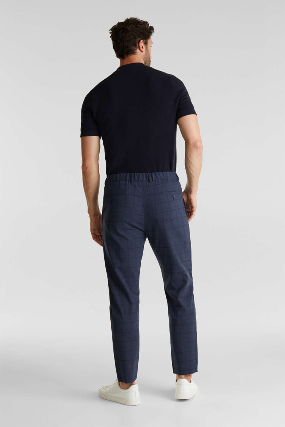 COOLMAX® CHECK mix + match: wool blend trousers, GREY BLUE 3, detail image number 1
