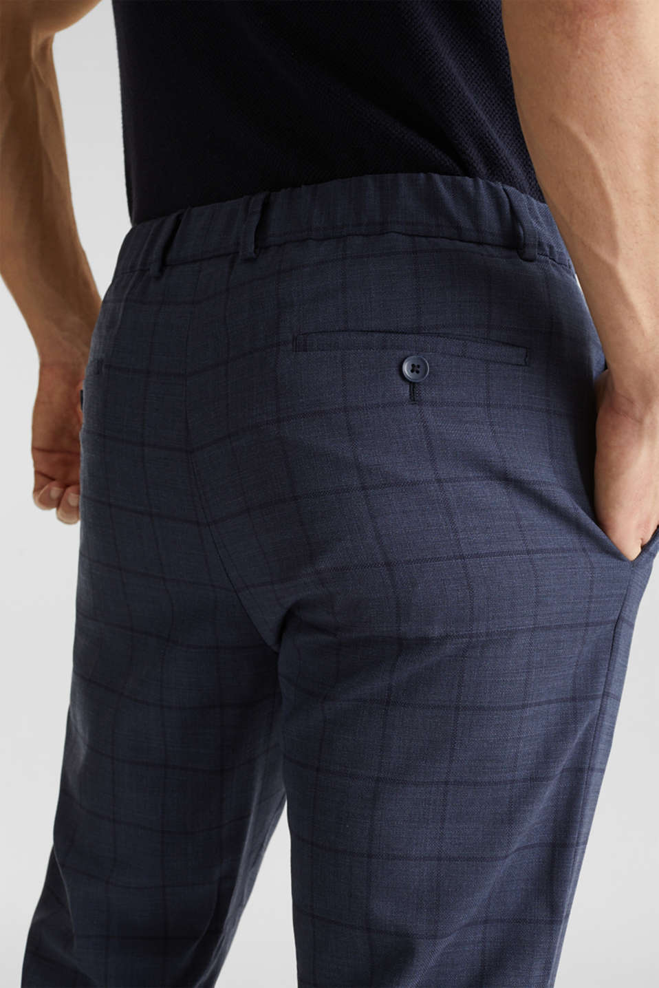 COOLMAX® CHECK mix + match: wool blend trousers, GREY BLUE 3, detail image number 3